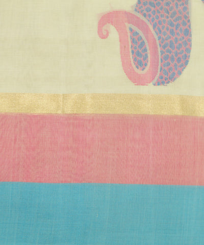 Handloom Cream Blue Vadambachery Cotton Saree