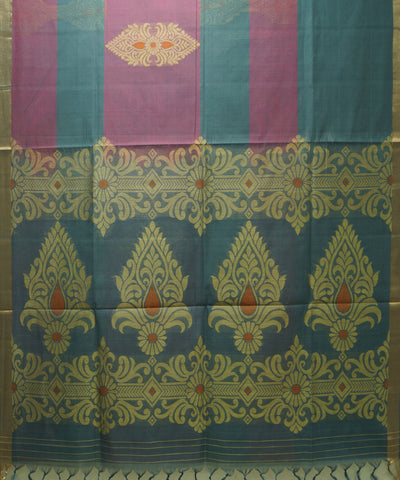 Handloom Mauve Blue Vadambachery Cotton Saree