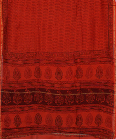 Orange Bagh Printed Chanderi Saree