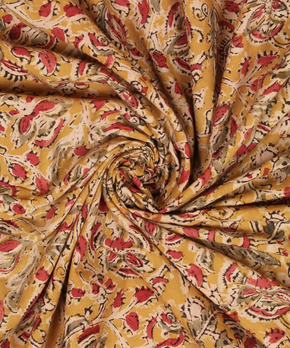 Yellow kalamkari printed cotton fabric