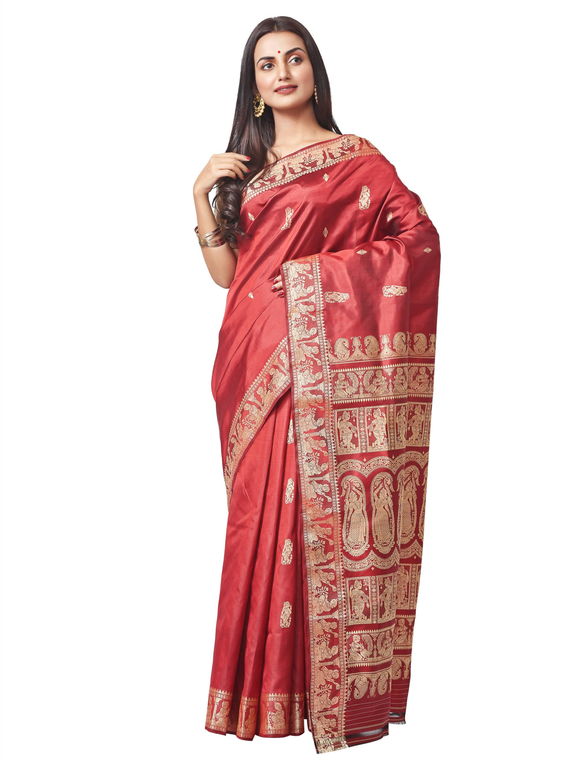 Biswa Bangla Handloom Baluchari Silk Saree - Rust