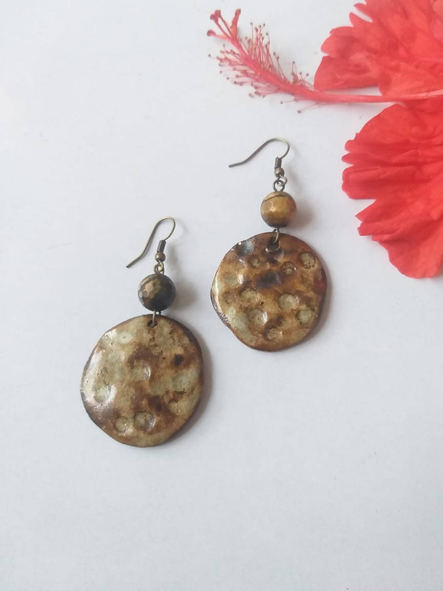 Tiger Eye Textured Ceramic Dangler