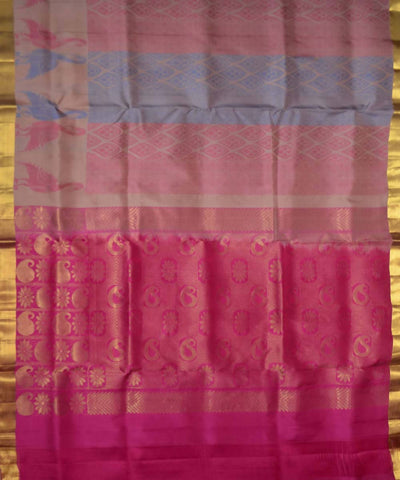 Onion Pink Fuchsia Handloom Soft Silk Saree