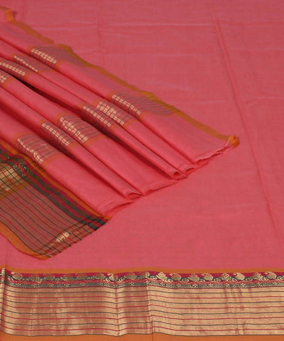 Handloom Peach Venkatagiri Cotton Saree