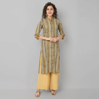 Beige and mustard floral handblock print cotton kurti