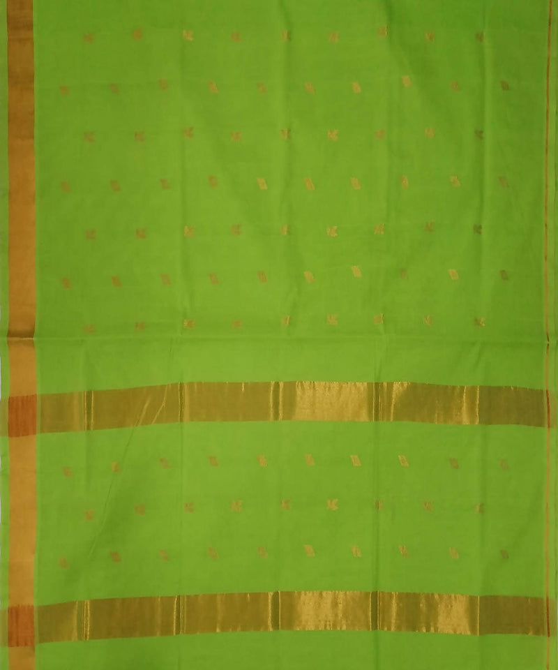 Pastel green handwoven venkatagiri cotton saree
