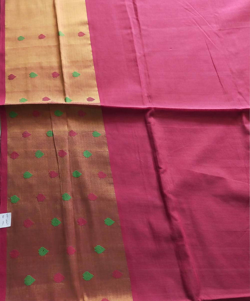 Venkatagiri handwoven pink with golden border cotton saree