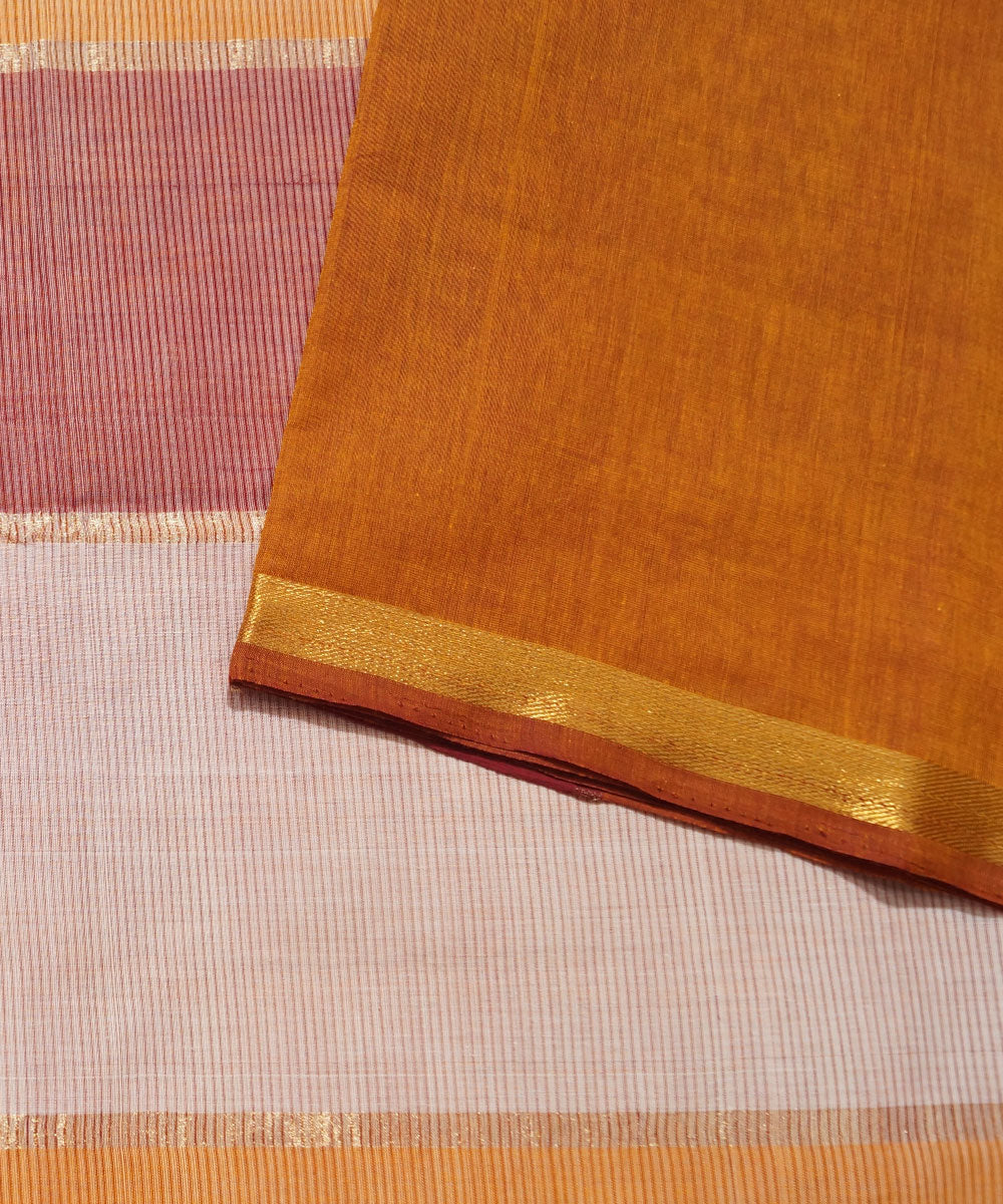 Yellow Brown Handwoven Aruppukottai Saree