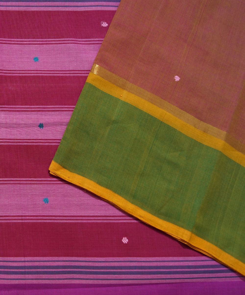 Aruppukottai Peach Handwoven Cotton Saree