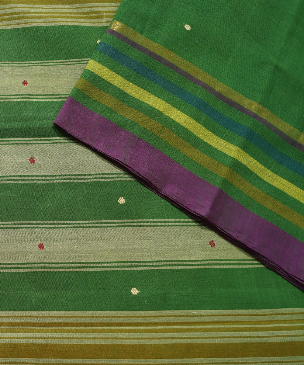 Dark Green Handwoven Aruppukottai Cotton Saree