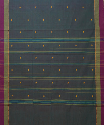 Handwoven Blue Grey Aruppukottai Cotton Saree