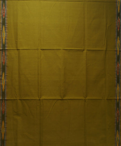Tie and Dye Cotton Saree in Mustard Green