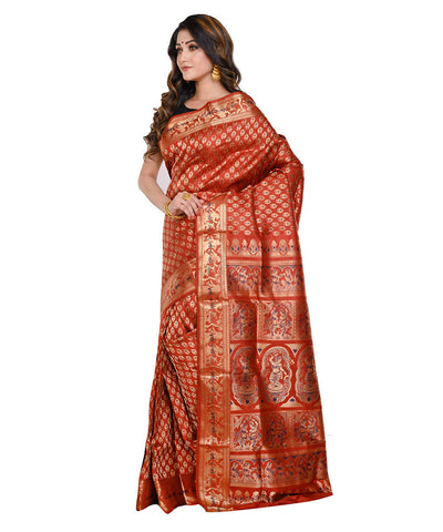 Rust orange baluchari handwoven Silk Saree