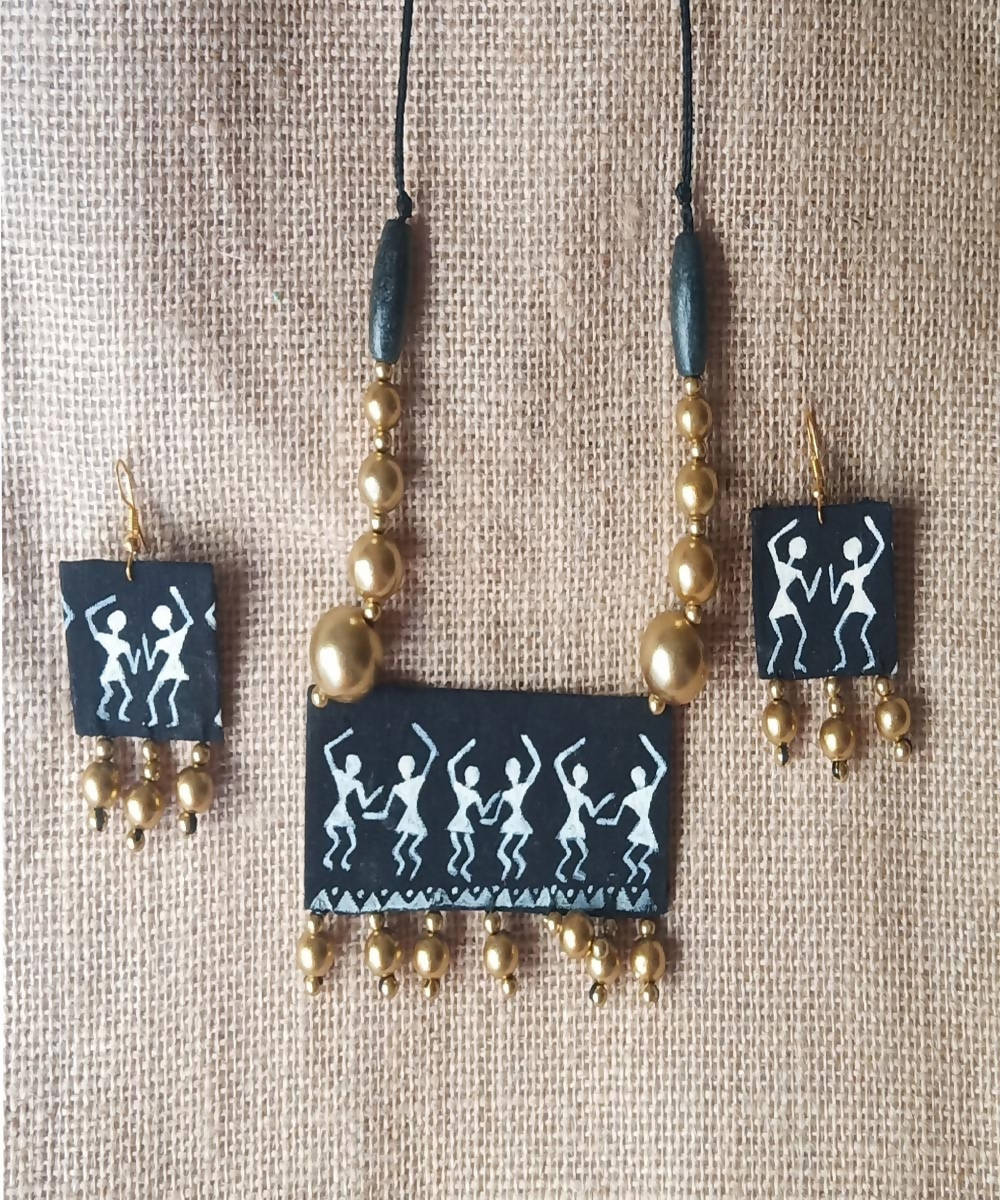 Warli Hand painted Fabric Necklace and Earring set