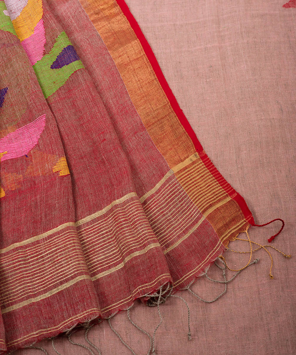 Beige brown handwoven linen jamdani saree