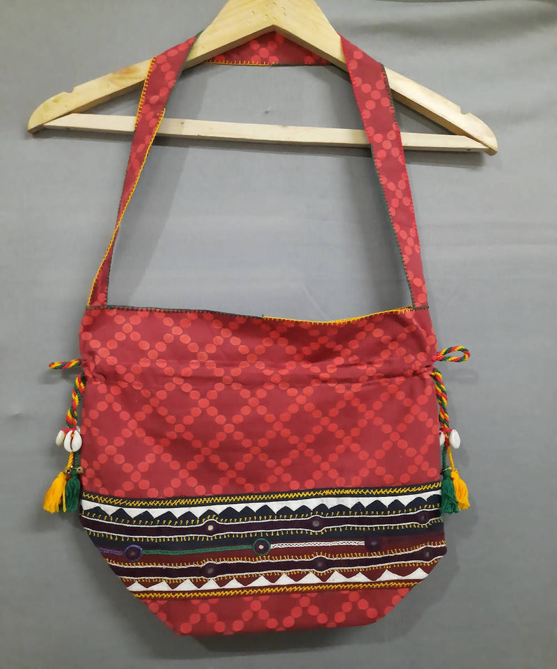 red lambani hand embroidery cotton handbag
