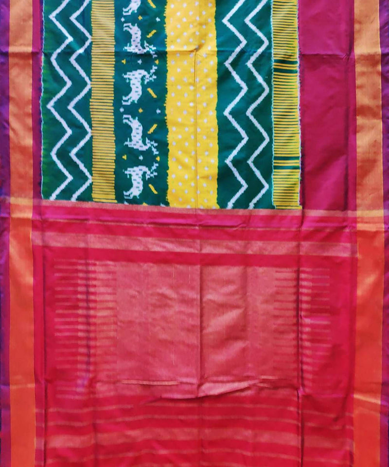 Multicolor handwoven ikat silk pochampally saree