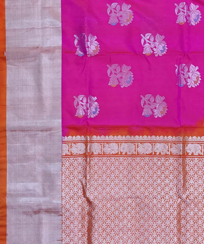 Pink Orange Butta Work Handwoven Silk Venkatagiri Saree