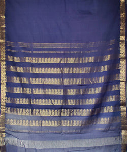 dark navy blue handloom cotton saree with zari pallu