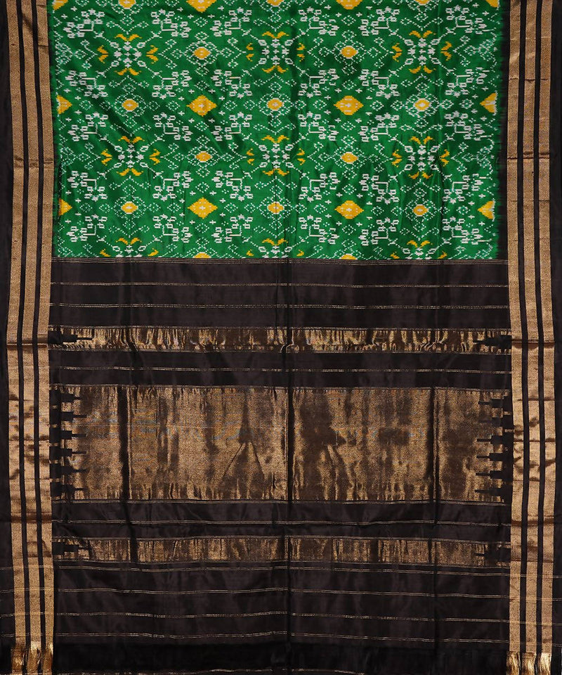 Green Black Handloom Pochampally Silk Saree