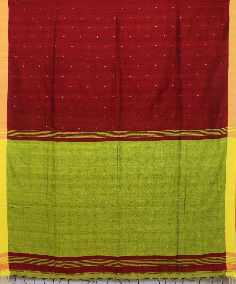 Maroon Yellow Bengal Handwoven Cotton Saree