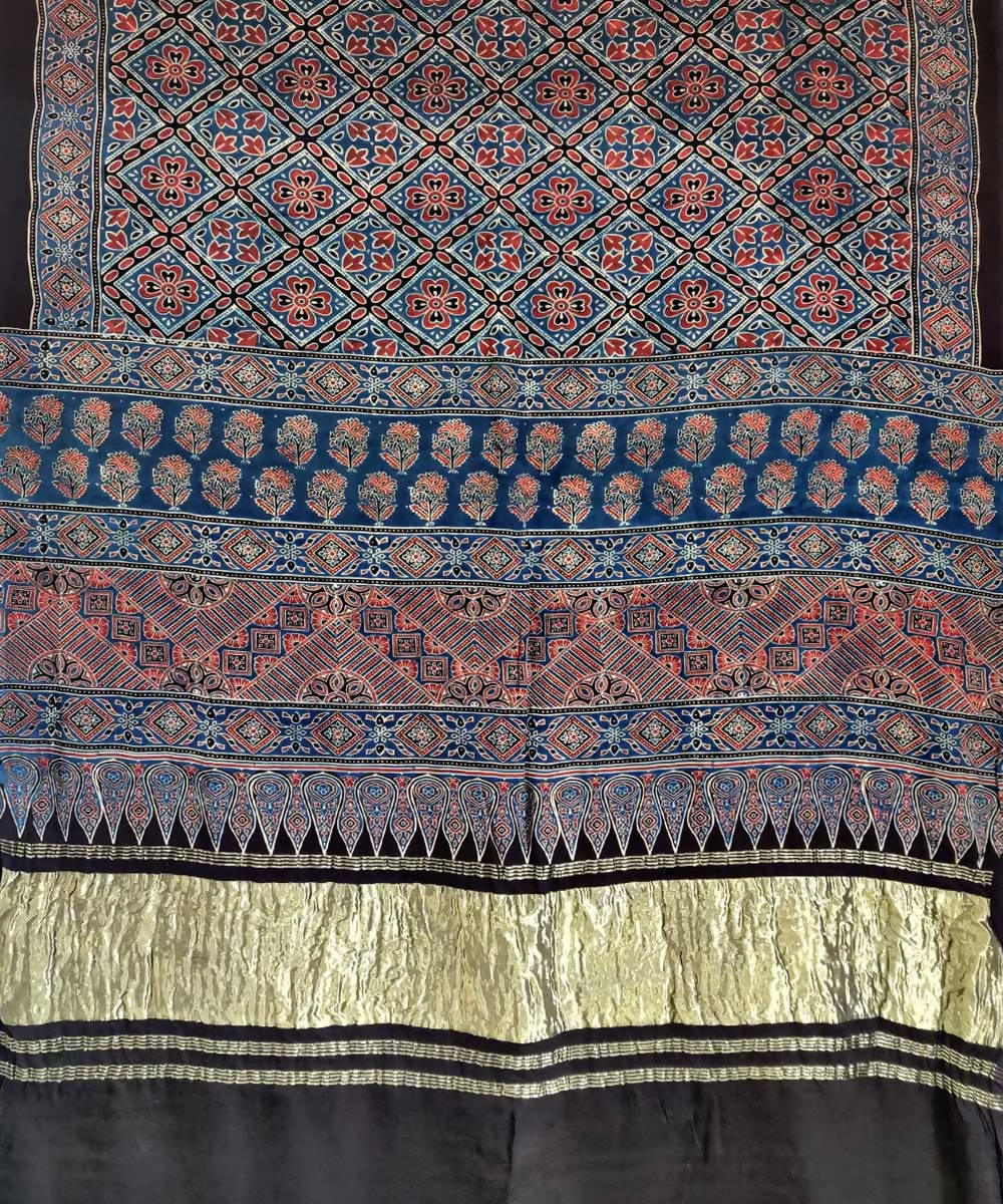 Brown blue ajrakh handblock print silk saree