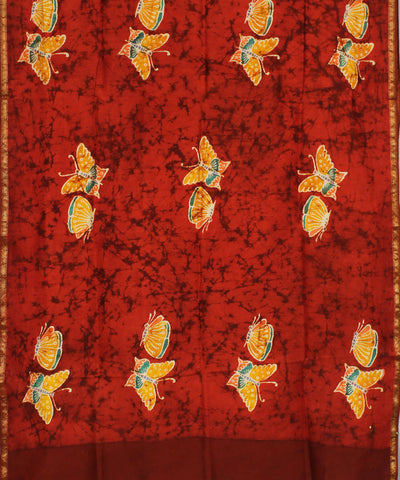 Batik Print Red Orange Maheshwari Dupatta