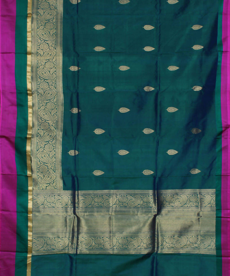 Handloom Teal Green Banarasi Silk Saree