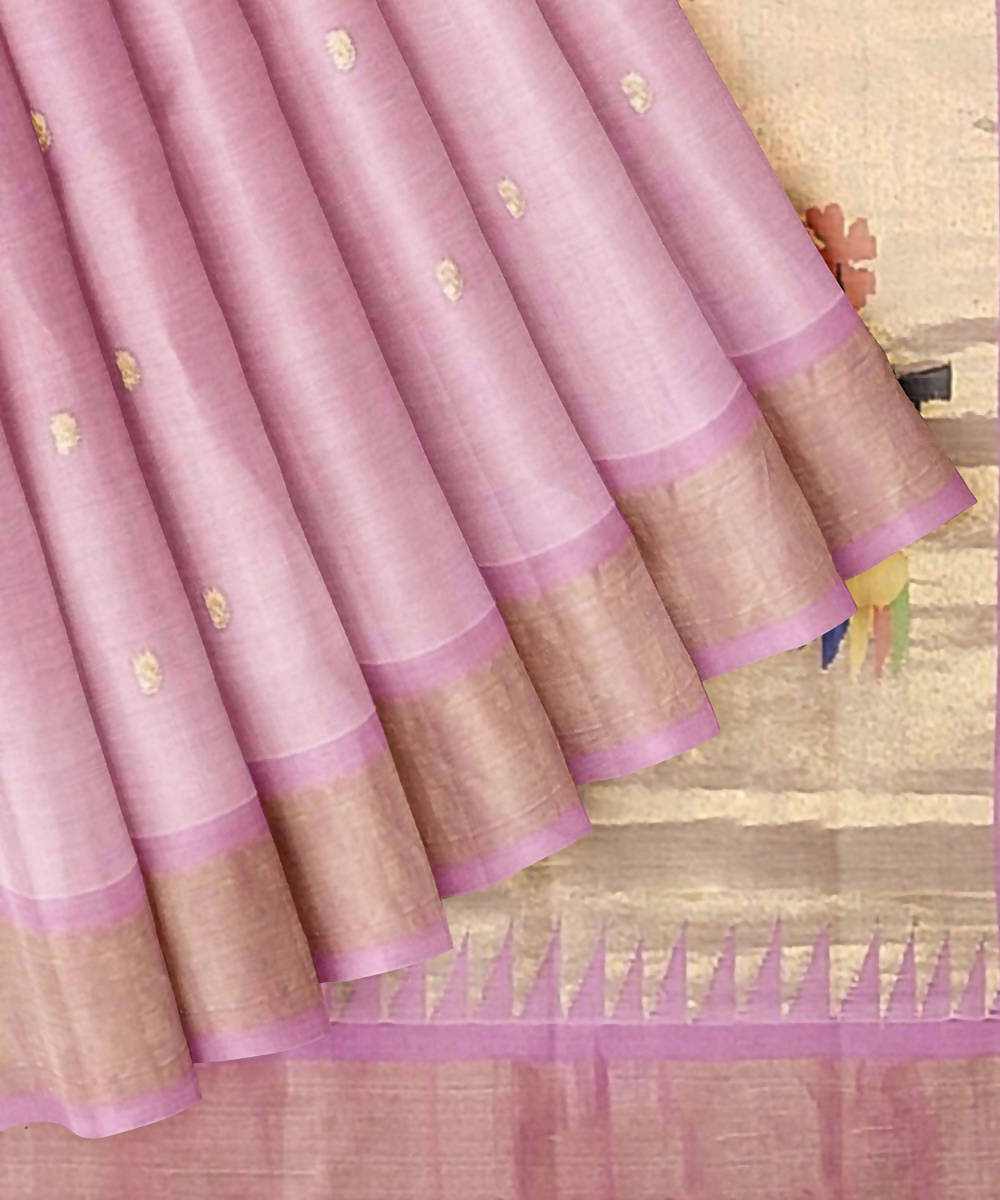 Handloom Paithani Baby Pink Cotton Saree