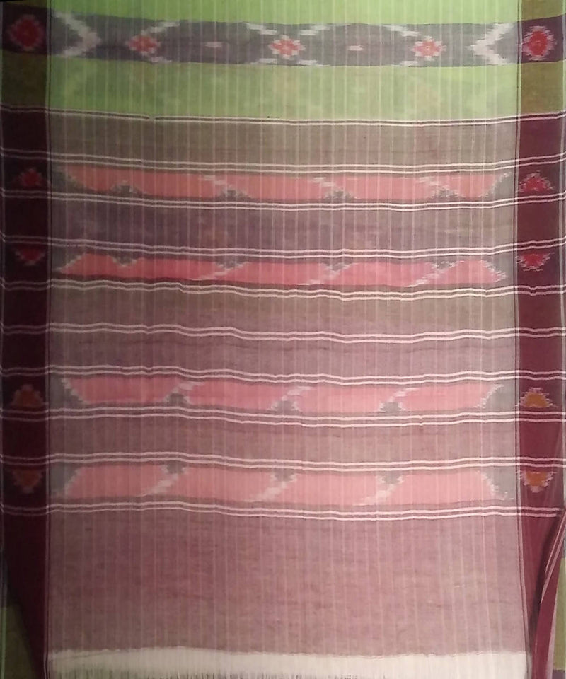 Light Green siddipet tie and dye handwoven cotton saree