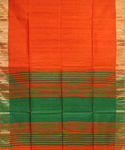 Orange Green Khadi Handloom Silk Saree