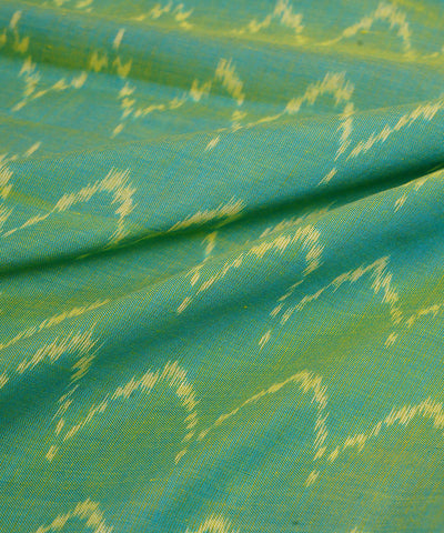 Green Handloom Pochampally Ikat Cotton Fabric