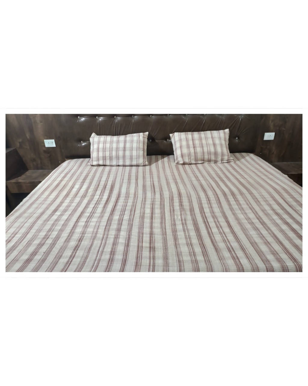 Brown stripes handloom king size cotton bedsheet