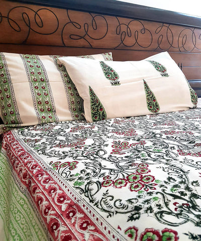 Multicolor Handblock Printed White Cotton Bedsheet