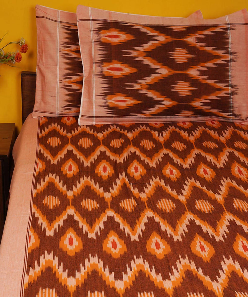 Brown Handloom Pochampally Ikkat Cotton Bedsheet