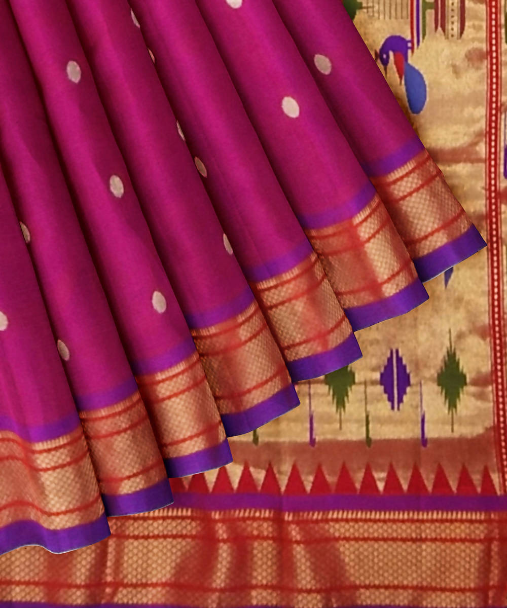 Magenta Purple Handloom Paithani Silk Saree