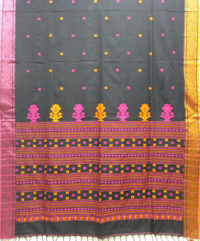 Black and pink handwoven bengal mercerised cotton saree