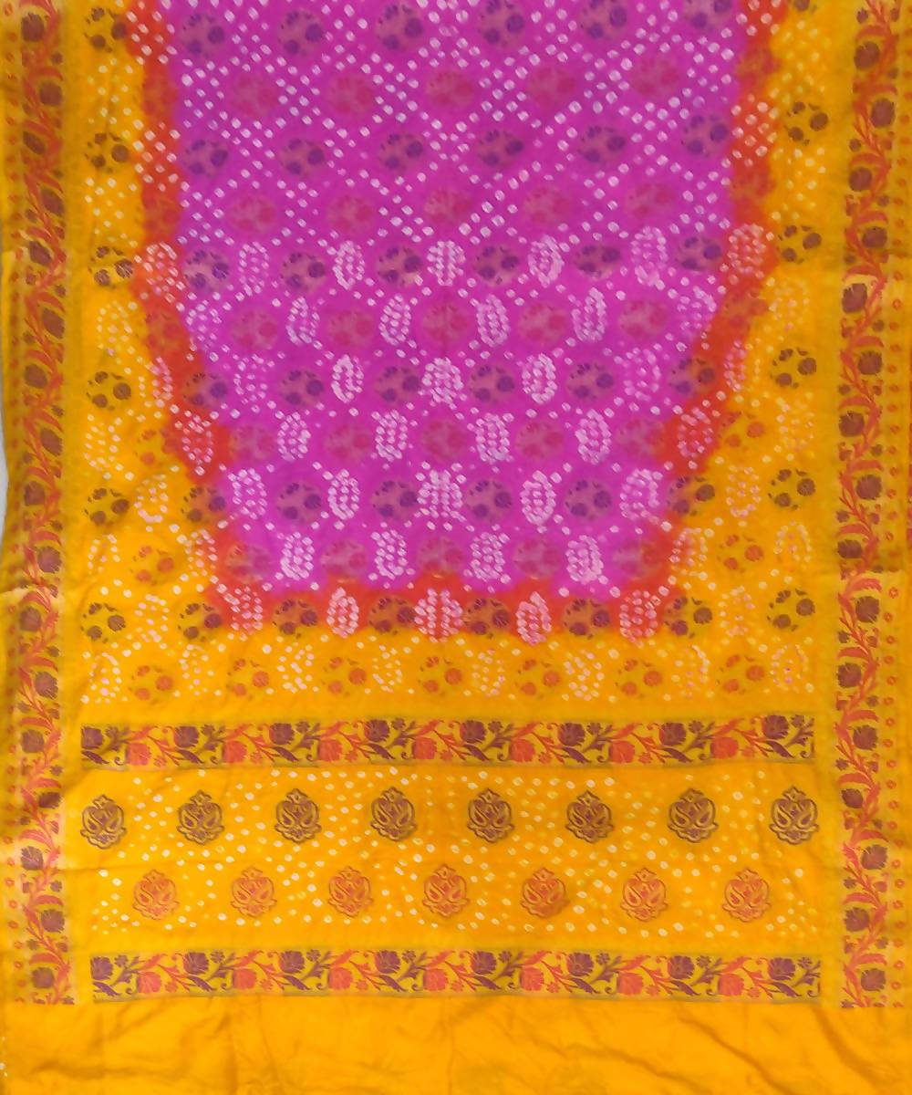 Pink Yellow Handprinted tie dye Bandhani Silk Saree