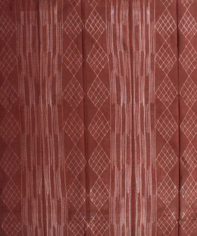 Shibori Printed Cotton Brown Kurta Fabric