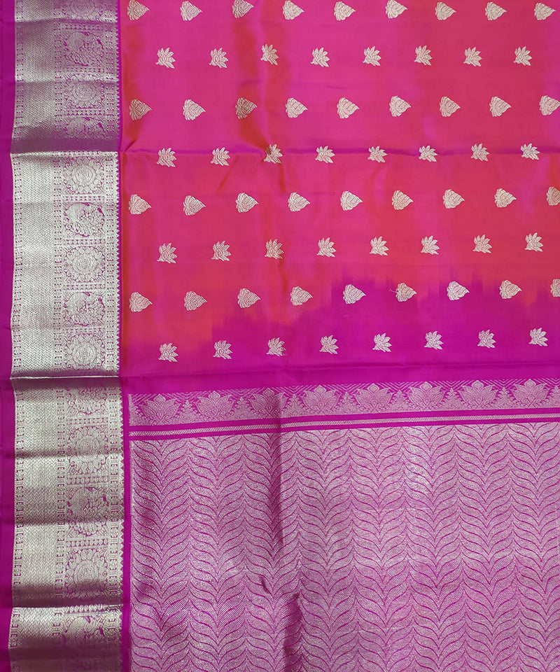 Pink purple butta handwoven cotton silk venkatagiri saree