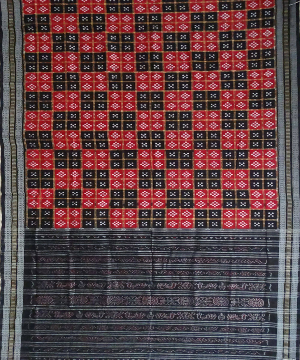 Sambalpuri Red Black handloom Cotton Saree