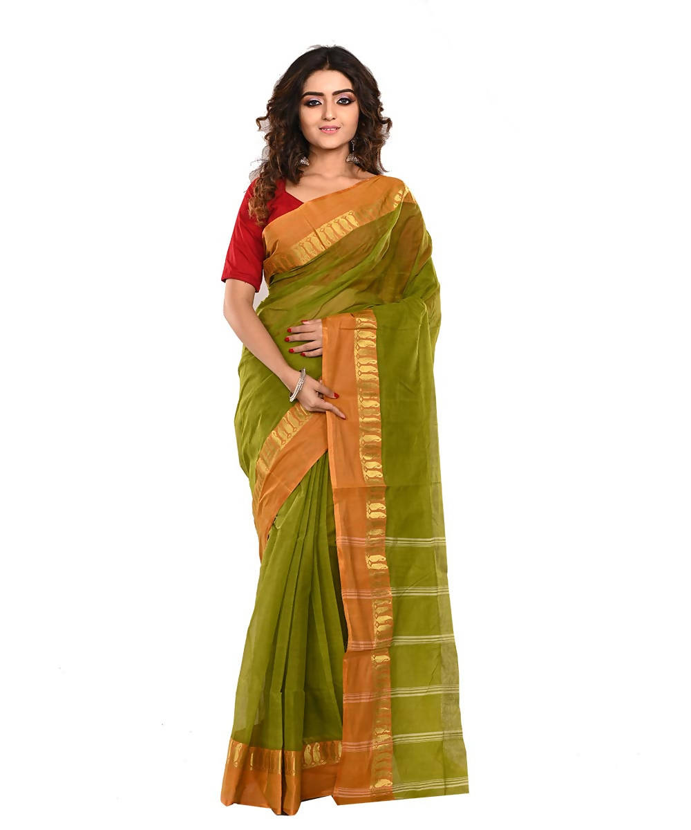 Bengal Parrot Green Handloom Cotton Saree