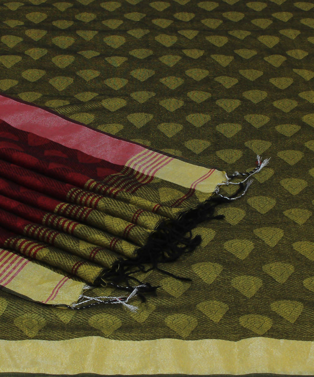 Lime Maroon Bengal Handloom Cotton Saree
