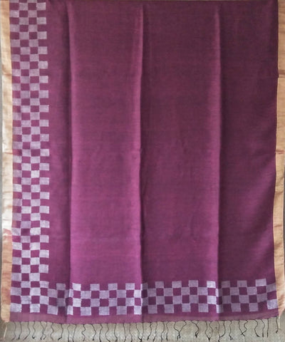 Wine Purple Bengal Linen Handwoven Saree