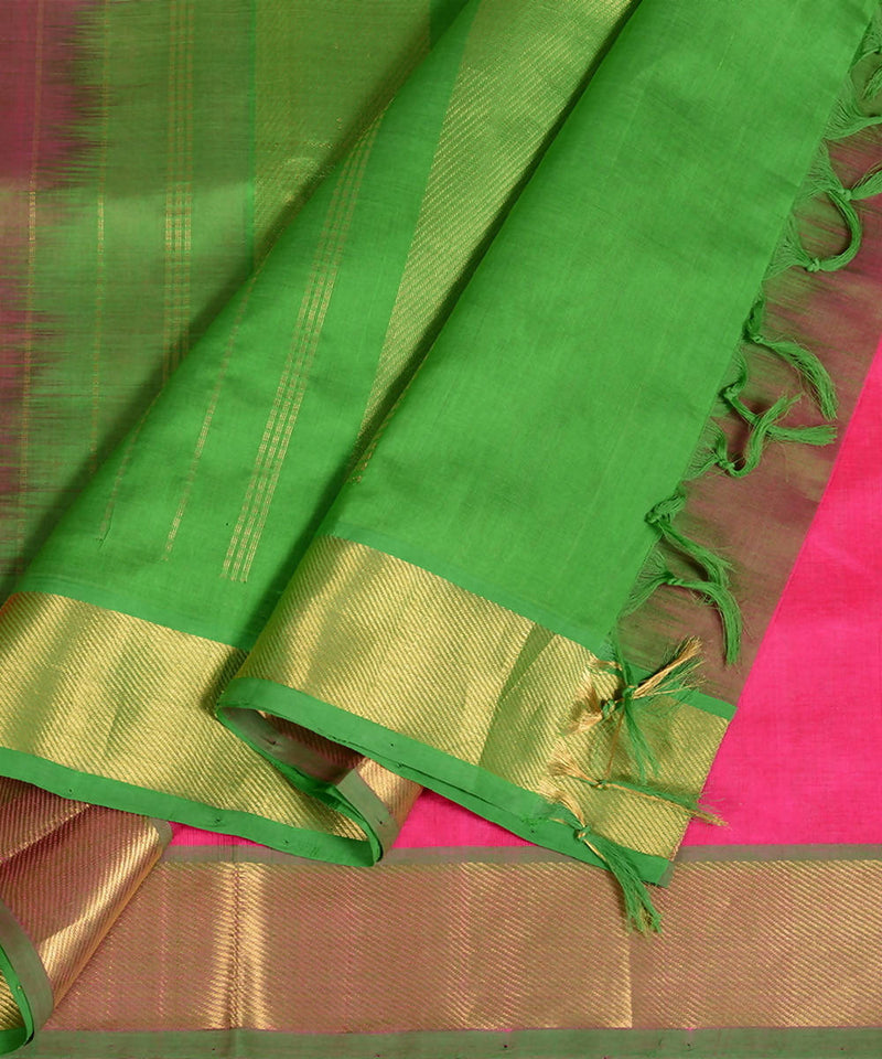 Pink and green kanjivaram silk cotton saree
