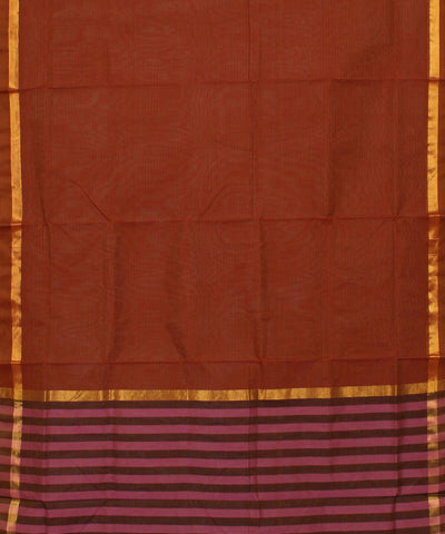 Rust Brown Madhavaram Handwoven Cotton Saree