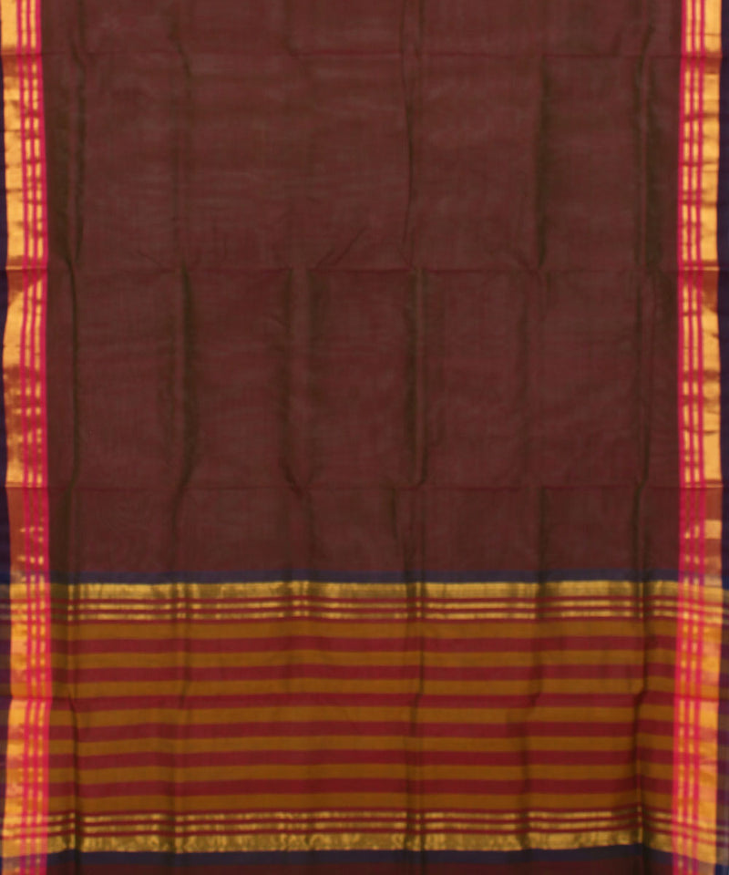 Madhavaram Handwoven Burgundy Cotton Saree
