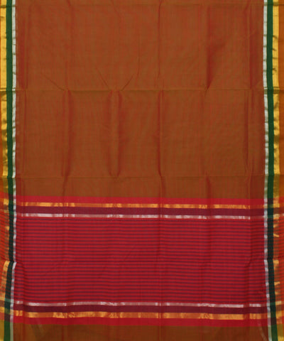 Handwoven Madhavaram Rust Brown Cotton Saree