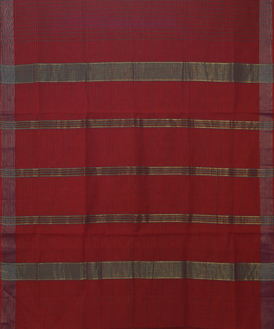 Manamedu Red Maroon Cotton Checks Handwoven Saree