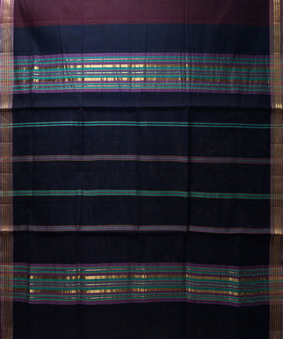 Loom World Maroon and Dark Blue Handwoven Manamedu Cotton Saree